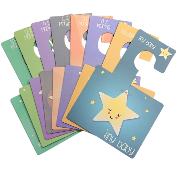 These Sweet Dreams baby wardrobe dividers are an easy way to organise baby's clothes by size. They are a lovely and original gift for any mummy-to-be or new parent.