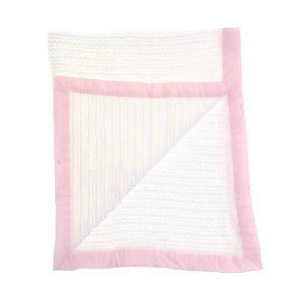 Cellular Blanket with Pink Trim