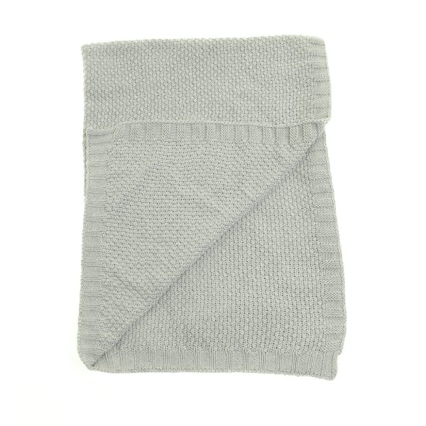 classic grey knitted blanket