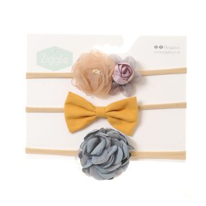 Grey and Mustard Roses Hairbow Set
