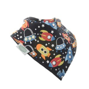 Outer Space Bin - Colourful rockets fly on a navy background with white stars