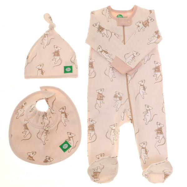 Ziggle Baby Unisex Zip All In One, Hat and Bib Cute Mice About Town