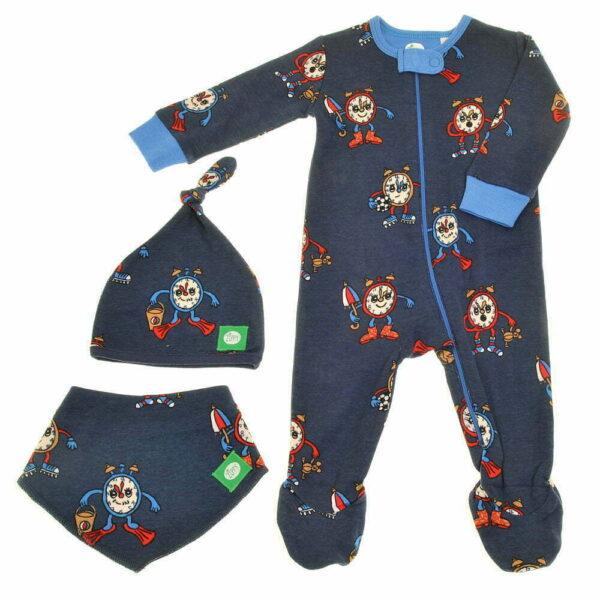 Ziggle Baby Boy Zip All In One, Hat and Bib Alarm Clock
