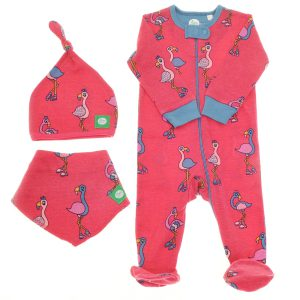 Ziggle Baby Girl Zip All In One, Hat and Bib Pink Flamingo