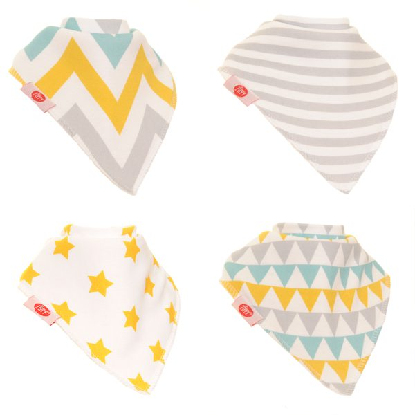 geometric bibs in gold and silver