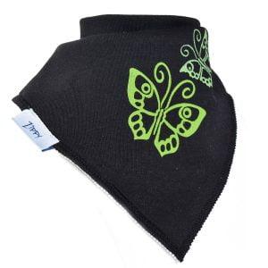 Ziggle Baby Girl Bandana Dribble Bib Black Butterflies