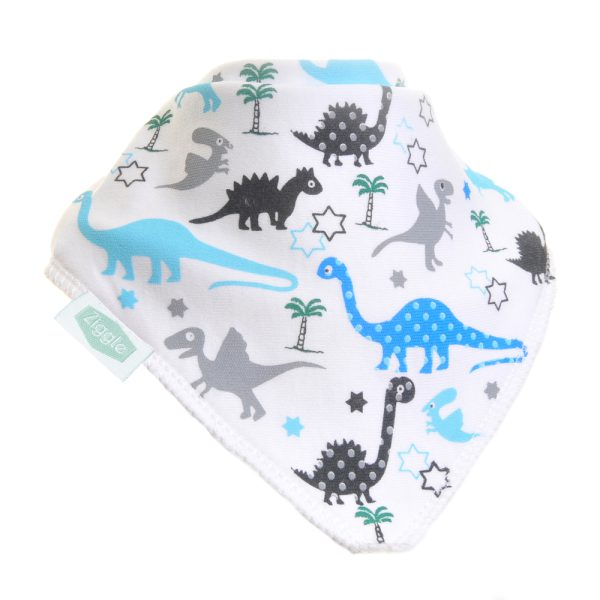 Blue, Grey and black dinosaurs decorate this crisp white dribble bib. The perfect way to make your little one's outfit extra roarsome!