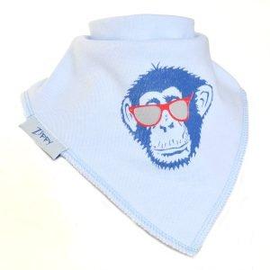 Ziggle Baby Boy Bandana Dribble Bib Blue Cool Monkey