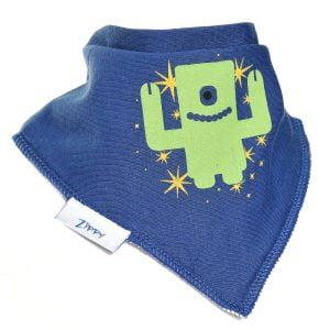Ziggle Baby Boy Bandana Dribble Bib Blue Robot