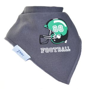 Ziggle Baby Boy Bandana Dribble Bib Grey Football Helmet