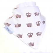 Ziggle Baby Unisex Bandana Dribble Bib White Crowns