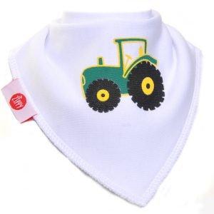 Ziggle Baby Boy Bandana Dribble Bib White Tractor