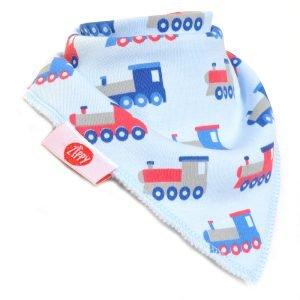 Ziggle Baby Boy Bandana Dribble Bib Blue Trains
