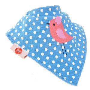 Ziggle Baby Girl Bandana Dribble Bib Blue and Pink Bird