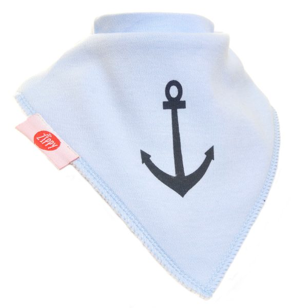 Ziggle Baby Boy Bandana Dribble Bib Anchor Pale Blue