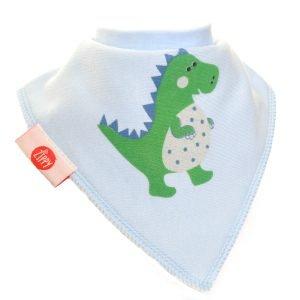 Ziggle Baby Boy Bandana Dribble Bib Blue Green Dinosaur
