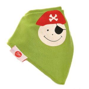 Ziggle Baby Unisex Bandana Dribble Bib Pirate Ahoy Green