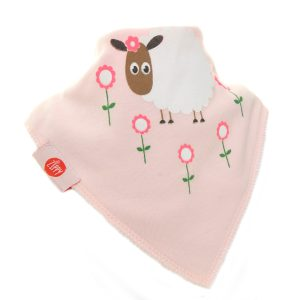 Ziggle Baby Girl Bandana Dribble Bib Cute Pink Sheep