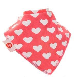 Ziggle Baby Girl Bandana Dribble Bib Hearts on Pink