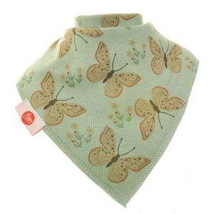 Ziggle Baby Girl Bandana Dribble Bib Vintage Green Butterflies