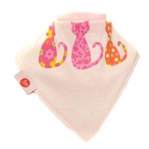 Ziggle Baby Girl Bandana Dribble Bib 3 Cats Pink