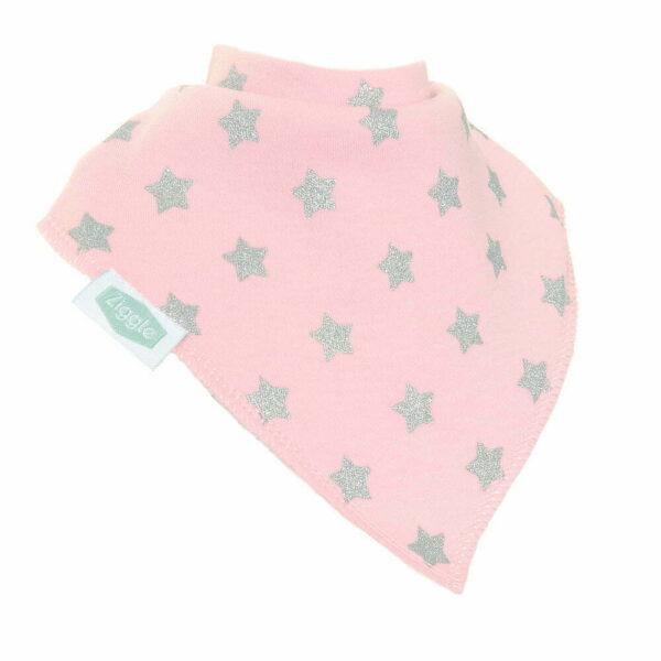 Pink with Silver Glitter Stars Bib