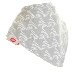 Ziggle Baby Unisex Bandana Dribble Bib Grey White Triangles