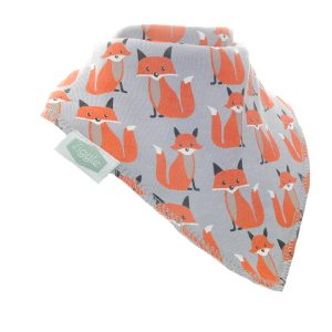 Foxes on a grey background bandana dribble bib
