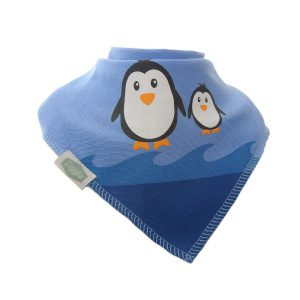 Blue bib with a background of waves with penguin pair on