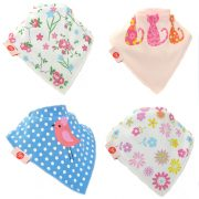 Ziggle Baby Girl Bandana Dribble Bib 4 pack Cool