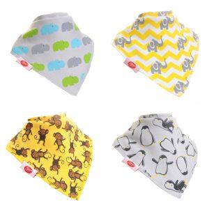 Ziggle Baby Unisex Bandana Dribble Bib 4 pack Animal Prints