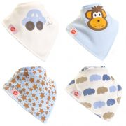 Ziggle Baby Boys Bandana Dribble Bib 4 pack Cute