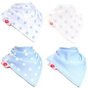 Ziggle Baby Boys Bandana Dribble Bib 4 pack Blue White