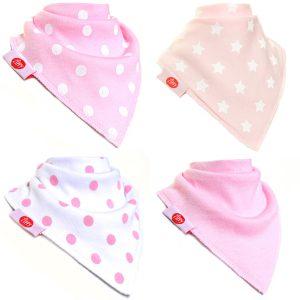 Ziggle Baby Girl Bandana Dribble Bib 4 pack Pink White