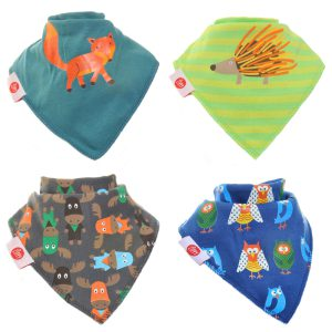 Ziggle Baby Boys Bandana Dribble Bib 4 pack Woodland Animals