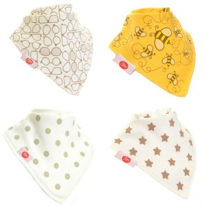 Ziggle Baby Unisex Bandana Dribble Bib 4 pack Stylish Cream