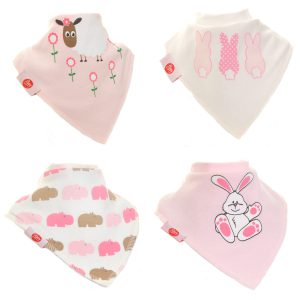 Ziggle Baby Girl Bandana Dribble Bib 4 pack Cute