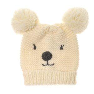 cute Cream Bear Bobble Hat