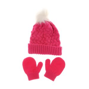 Hat - Dark Pink & Gloves
