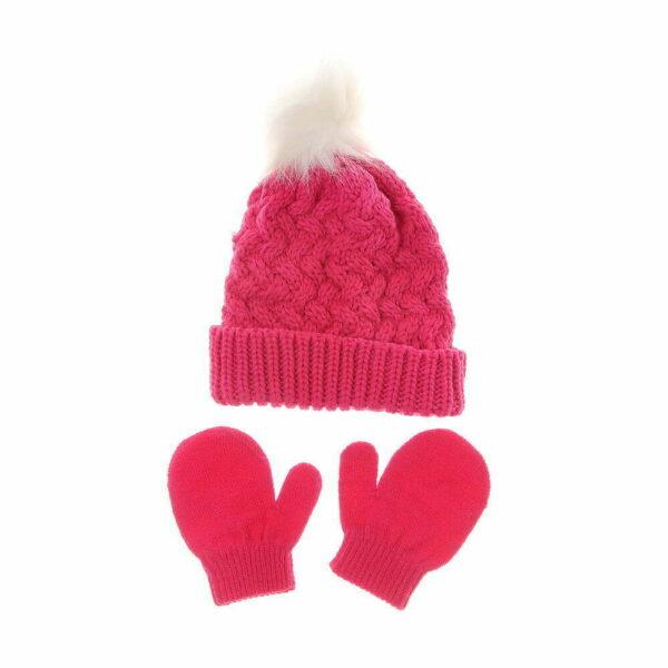 Hat - Dark Pink & Gloves