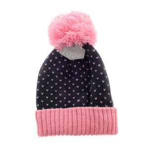 Hat - Navy and Pink hearts