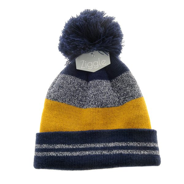 cosy navy, yellow and grey Knit Bobble Hat
