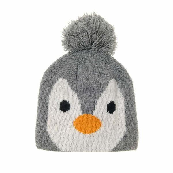 cute Grey Penguin Bobble Hat