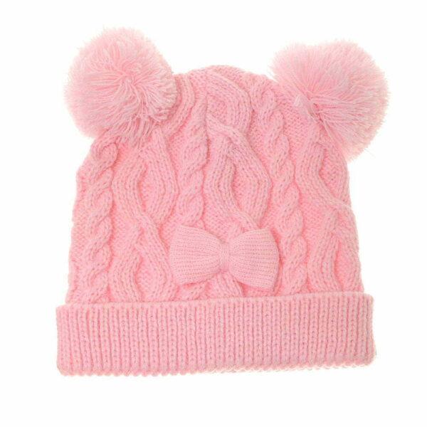 cute Light Pink Bobble Hat