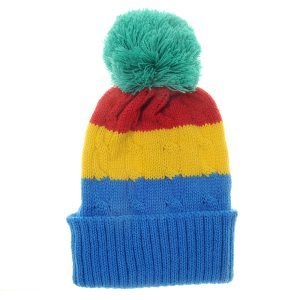 cosy Rainbow Cable Knit Bobble Hat