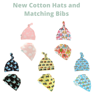 New Cotton Hats and Matching Bibs