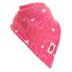 Ziggle Girl Extra Large Absorbent Bandana Dribble Bib Funky Hearts